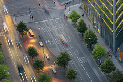 Potsdam square from above. View on Potsdam Square and street from above, important public square and traffic intersection in the centre of Berlin royalty free stock photo