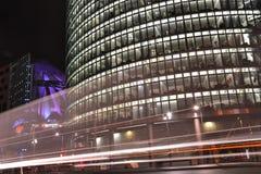 Potsdamer Platz в Берлин на ноче Стоковые Фотографии RF
