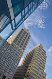 Potsdamer Platz. Low angled view of modern office buildings in Potsdamer Platz, Berlin, Germany Stock Photo