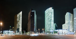 Potsdamer Platz in Berlin. Panorama Potsdamer Platz in Berlin at night Stock Photography