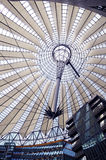 Potsdamer Platz in Berlin. Futuristic umbrella-like tent roof at Sony Center, Potsdamer Platz, Berlin, Germany Stock Photo