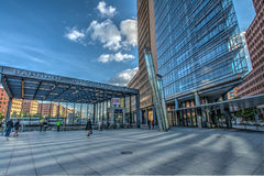 Potsdamer Platz in Berlin. BERLIN, GERMANY - MAY 15, 2014: Wide-angle view of the Potsdamer Platz in Berlin Stock Image