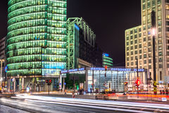 Potsdamer platz, Berlin. Potsdamer platz at night with cars and people around Stock Images