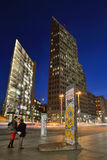 The Potsdamer Platz, Berlin. The Potsdamer Platz at night on October 27, 2014 in Berlin, Germany. The Potsdamer Platz is the new modern city center of Berlin stock image