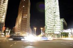 Potsdamer Platz Berlin. SEPTEMBER 2013 - BERLIN: traffic at night time at the Potsdamer Platz in Berlin Stock Photos