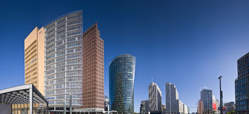 Potsdamer Platz, Berlin. Skyscrapers of the Potsdamer Platz district, symbolizing Berlin's regeneration. Perspective corrected stitched panorama detailed when Stock Images