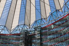 Potsdamer platz, futuristic roof dome of Sony Center Royalty Free Stock Photo