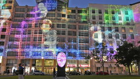 Potsdamer Platz by night stock video footage