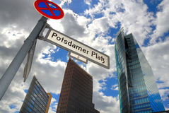 Potsdamer Platz with offices. Potsdamer Platz (square) with office buildings and street name sign Royalty Free Stock Photography