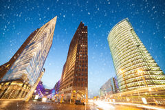 Potsdamer platz an snowflakes Stock Photography