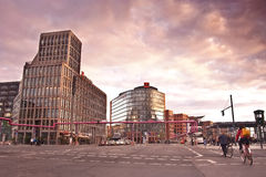 Potsdamer platz in sunset colors. This square located in the Tiergarten district, one of the most central and popular places in Berlin Royalty Free Stock Photos