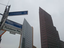 Potsdammer Platz in Berlin, Germany. At foreground sign with street name. Royalty Free Stock Photography
