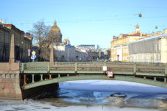 Potseluev Bridge on Moyka River Royalty Free Stock Images
