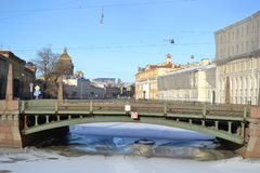 Potseluev Bridge on Moyka River Royalty Free Stock Photos