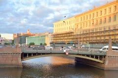 Potseluev bridge in St. Petersburg. Stock Photos
