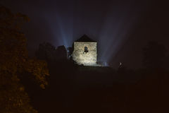 Czech ruins Potstejn night time view Royalty Free Stock Photos