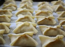 Potstickers. That have been sealed are are ready for cooking Royalty Free Stock Photos