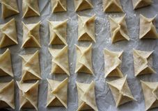 Potstickers. That have been sealed are are ready for cooking Stock Images