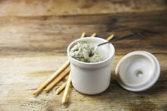 Potted blue stilton cheese on a spoon and in a ceramic jar, some Stock Photos