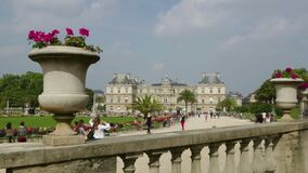 Potted Flowers on a Balustrade at Jardin du Luxembourg, Paris France