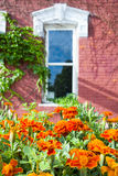 Potted Flowers in Front of an Old Nebraska Home. Red geraniums in an old stone pot sitting in front of a peaceful Nebraska home Royalty Free Stock Photo