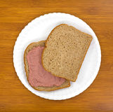 Potted meat sandwich on plate Stock Photos