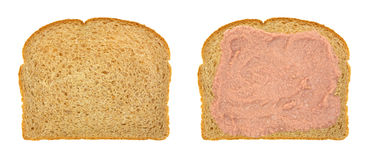 Potted meat sandwich on whole wheat bread Royalty Free Stock Image