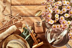 Potted pink daises, gardening tools and sunhat stock image