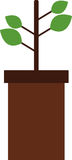 Potted plant icon with illustrated Royalty Free Stock Image