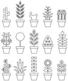 Potted plant icon set. Set of line icons in black and white of potted houseplants Royalty Free Stock Images