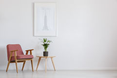 Potted plant on table. Fresh potted plant placed on table next to pink armchair stock image