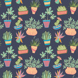 Potted plants seamless pattern. Vector background illusrtation Royalty Free Stock Images