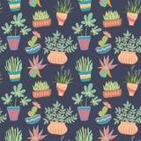 Potted plants seamless pattern. Vector background illusrtation vector illustration