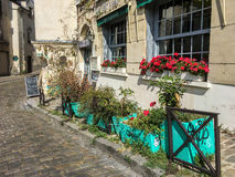 Potted plants and windowboxes line a Paris sidewalk Royalty Free Stock Photography