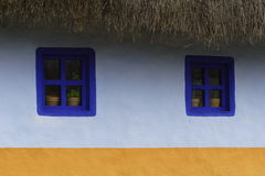 Potted Plants In Windows. Two blue windows with potted plants, below a thatch roof.  Base of wall is yellow, above is white.  Colorful and symmetrical Stock Image