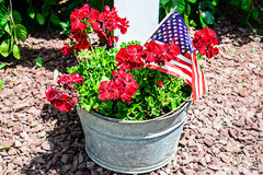 Potted Red Flowers and Flag in Steel Basin Stock Image