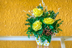 Potted yellow roses on the shelf so beautiful Stock Photography