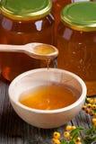 Potten en kom met honing en bessen Stock Foto's