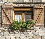 Potten in het venster stock foto