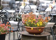 potten van bloemen op de lijsten in de bar in de open lucht Royalty-vrije Stock Foto's