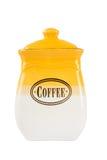 Potten van thee, koffie en suiker, geel-witte kleur op witte bac stock afbeeldingen