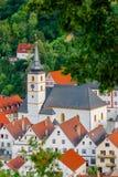 Pottenstein圣徒巴塞洛缪教会法兰克的瑞士,德国 图库摄影