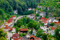 Pottenstein, view from hill, Franconian Switzerland, Germany Stock Images