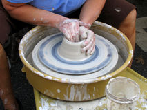 Potter's Wheel #1. A Close-up Of A Potter Making A Bowl Stock Photos