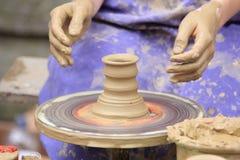 Potter,ceramist. Preparing  the pot is interesting profession Stock Photos