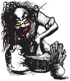 Potter, Creator, Clown - Vector freehand illustration. An hand drawn vector illustration, freehand, in comic style. An Ugly Potter, Creator or Clown working Stock Image