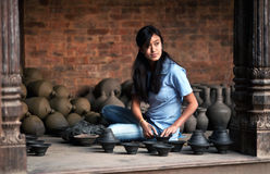 Potter girl, Nepal Royalty Free Stock Photography