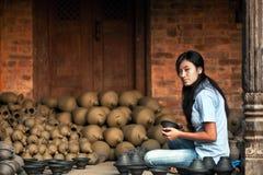 Potter girl, Nepal Stock Photo