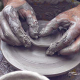 Potter hands wheel pottery. Work workshop Royalty Free Stock Photos