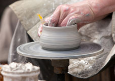 Potter during a jug molding Stock Images